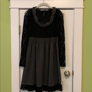 Black lace mixed fabric dress